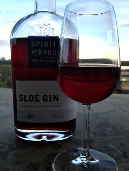 Spirit Works Sloe Gin bottle and glass Picmonkey