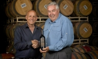 "Director of Winemaking Jeff Meier and Jerry Lohr celebrate ""Signature"""