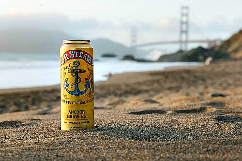 Anchor Steam can GG Bridge in background Picmonkey