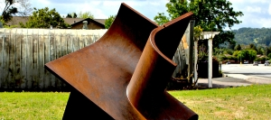 Constrained Geometrics #2 by Hector Ortega is one of the many sculptures in outdoor setting at Cloverdale