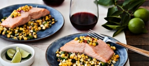 King Salmon with Corn and Poblano Salad