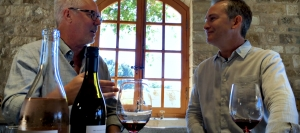 """Two Glasses In,"" a wine podcast and video series by Visit Santa Barbara, features winemakers of Santa Barbara County interviewed by Bion Rice of Artiste Winery. Pictured: Doug Margerum of Margerum Wine Co., left, and Bion Rice."