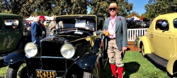 The quite-possibly-stylish Brendan Cooke poses with an assuredly stylish vintage vehicle at the Niello Concours d'Elegance
