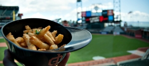 Garlic fries aren't a new item at AT&T Park, but now you can get them in a miniature Giants batting helmet