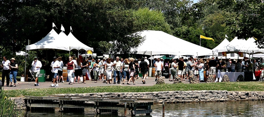 Visitors enjoy idyllic Lodi Lake setting for an afternoon of wine tasting