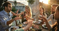 Celebrating Croatian wine and Croation food on a summer evening