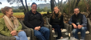 From left: Napa Valley Grapegrowers Executive Director, Jennifer Putnam; Pete Richmond of Silverado Farming, Kelly Macleod of Hudson Vineyards and  Sam Kaplan of  Arkestone Vineyards