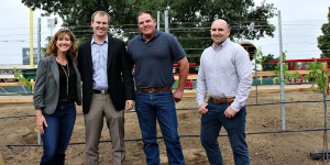 The Cabernet planting crew at Raley Field. From left: Jody Bogle, Jeff Savage, President of the River Cats, Warren Bogle and Ryan Bogle