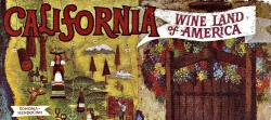 "This is an excerpt from ""California: Wine Land of America,"" by Mexican-American artist Amado Gonzalez, circa 1965. The art was used in a series of promotional posters."