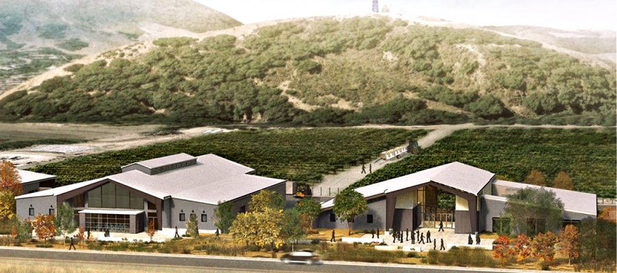 A rendering of Cal Poly's JUSTIN and J. LOHR Center for Wine and Viticulture. The 15,600-square-foot winery on the left will be complete in September and a 12,000-square-foot grange hall will be complete in March 2021.