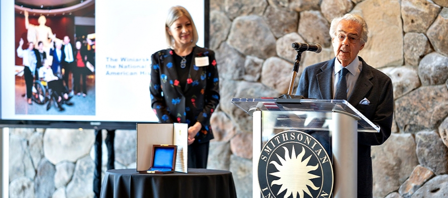 Warren Winiarski Accepts Award from the Smithsonian