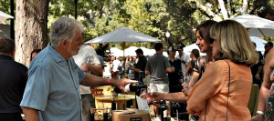 Vintner Tom Eddy pours a taste of his mountain-grown Cabernet Sauvignon at last year's Calistoga Wine Experience