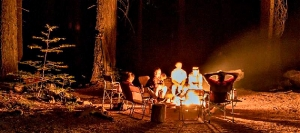 Family campfire at Nelder Grove