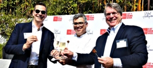 From Left to Right: Tom Kiely, CEO and President, West Hollywood Travel + Tourism Board, Louis Morales, Executive Chef at the Sunset Marquis Hotel's Cavatina Restaurant, and Rod Gruendyke, General Manager at the Sunset Marquis Hotel