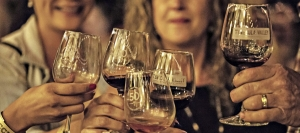 Friends enjoy a toast at Temecula wine event
