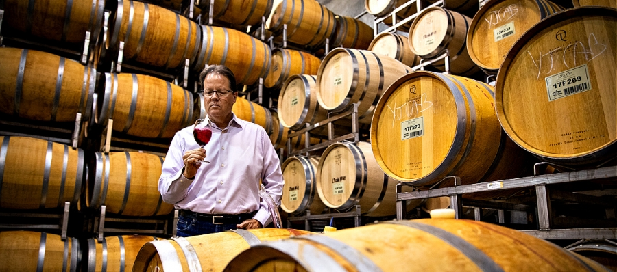L'Ecole No. 41 winemaker Marty Clubb in a reflecive moment in the barrel room
